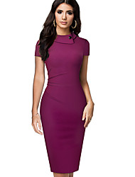 cheap -Women's Red Black Dress Daily Bodycon Solid Color Shirt Collar Basic S M / Cotton