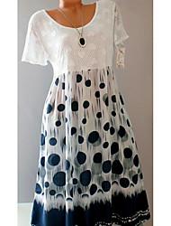 cheap -Women's Sheath Dress - Polka Dot White S M L XL