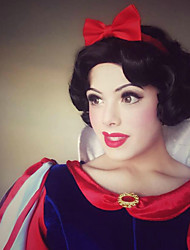 cheap -Cosplay Snow White Princess Cosplay Wigs Women's Asymmetrical 12 inch Heat Resistant Fiber Curly Black Adults' Anime Wig