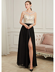 cheap -A-Line Sparkle Black Prom Formal Evening Dress Illusion Neck Sleeveless Floor Length Polyester with Crystals Beading Split 2020