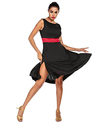 cheap -Women's Dancer Latin Dance Masquerade Costumes Polyster Black / Red Black / Blue Dress