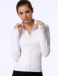 cheap -Women's Yoga Top Winter Thumbhole Zipper Pocket Fashion Black White Light Pink Running Fitness Jogging Jacket Long Sleeve Sport Activewear Windproof Breathable Comfort Moisture Wicking 4 Way Stretch