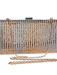 cheap -Women's Bags Polyester Evening Bag Crystals Chain Striped Wedding Bags Wedding Party Event / Party Black Gold Silver