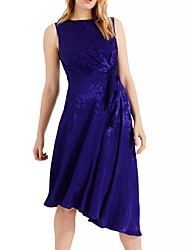cheap -A-Line Jewel Neck Knee Length Chiffon / Lace Minimalist / Blue Cocktail Party / Wedding Guest Dress with Draping 2020