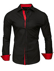 cheap -Men's Shirt Solid Colored Patchwork Long Sleeve Daily Tops Business Basic White Black Red