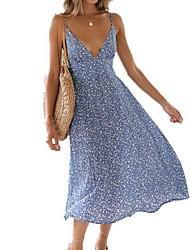 cheap -Women's Blue Dress A Line Floral Strap S M