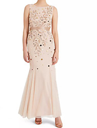 cheap -Mermaid / Trumpet Elegant Pink Wedding Guest Prom Dress Jewel Neck Sleeveless Floor Length Polyester with Appliques 2020