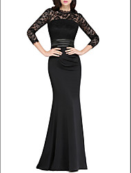 cheap -Mermaid / Trumpet Jewel Neck Floor Length Polyester Elegant / Black Formal Evening / Wedding Guest Dress with Appliques 2020