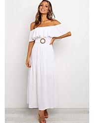 cheap -Women's A Line Dress - Solid Color White S M L XL