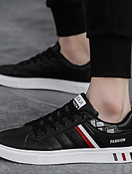 cheap -Men's PU Spring & Summer / Fall & Winter Casual / Preppy Sneakers Walking Shoes Breathable Striped Black / Black and White / White