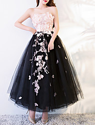 cheap -A-Line Floral Black Engagement Prom Dress Strapless Sleeveless Ankle Length Polyester with Appliques 2020