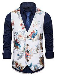 cheap -Men's Vest, Floral V Neck Cotton White / Black / Navy Blue
