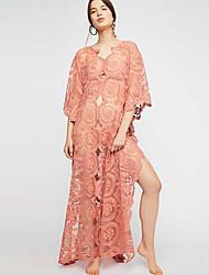 cheap -Women's Maxi Shift Dress - Half Sleeve Geometric Deep V Loose White Orange One-Size