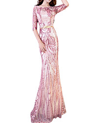 cheap -Mermaid / Trumpet Pink Spring Engagement Formal Evening Dress Off Shoulder Half Sleeve Floor Length Polyester with Sequin 2020