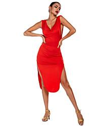 cheap -Women's Dancer Latin Dance Masquerade Costumes Polyster Red Dress