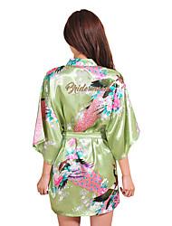 Недорогие -Нормальная Искусственный шёлк Халаты Сексуальные платья Цветочный принт Свадьба Секси