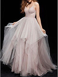 cheap -Ball Gown Elegant Grey Quinceanera Prom Dress V Neck Sleeveless Floor Length Tulle with Ruched Tier 2020