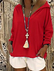 cheap -Women's Pullover Hoodie Sweatshirt Solid Colored Basic Hoodies Sweatshirts  Loose White Black Blue