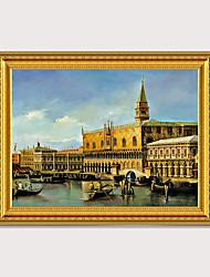 Недорогие -Европейская Италия вода город сцена картина на деревянной доске рамка роскошный дизайн ручная печать холст золоченая резная картина маслом