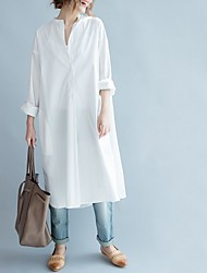 cheap -Women's Loose Dress - Solid Color White One-Size