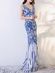 cheap -Mermaid / Trumpet V Neck Floor Length Polyester Sexy / Blue Engagement / Formal Evening Dress with Sequin / Appliques 2020