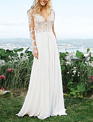 cheap -A-Line V Neck Sweep / Brush Train Polyester Long Sleeve Vintage Illusion Detail Wedding Dresses with Draping / Appliques 2020