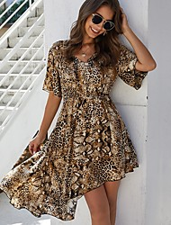 cheap -Women's Asymmetrical Brown Dress A Line Leopard V Neck S M