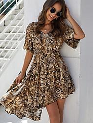 cheap -Women's Asymmetrical Brown Dress A Line Leopard V Neck S M