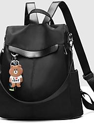 Недорогие -Большая вместимость Кожа PU холст Молнии рюкзак Сплошной цвет Школа Черный / Синий / Серый / Наступила зима