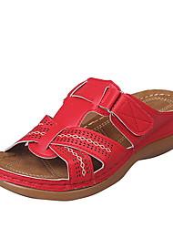 cheap -Women's Slippers & Flip-Flops Flat Heel Open Toe PU Summer Red / Burgundy / Royal Blue