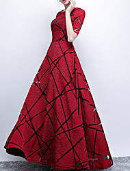 cheap -A-Line Elegant Red Engagement Prom Dress Jewel Neck Short Sleeve Floor Length Polyester with Pattern / Print 2020