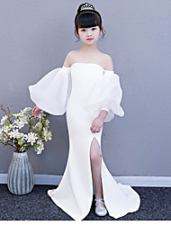 cheap -Mermaid / Trumpet Court Train Wedding / Party Pageant Dresses - Spun Rayon Long Sleeve Strapless with Split Front / Solid
