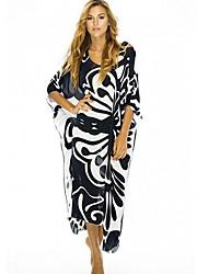 cheap -Women's Tunic Dress - Geometric Black One-Size