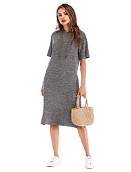 cheap -Women's Daily Casual Shift Dress - Solid Color Basic Gray S M L XL