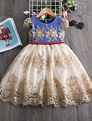 cheap -Kids Toddler Girls' Flower Sweet Patchwork Beaded Embroidered Lace Trims Short Sleeve Knee-length Dress Blue
