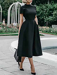 cheap -Women's Swing Dress - Short Sleeve Solid Colored Elegant Slim Black S M L XL XXL