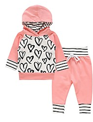 cheap -Baby Girls' Street chic Striped Long Sleeve Regular Clothing Set Blushing Pink