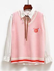 Недорогие -Жен. Однотонный Без рукавов Жилет Свитер джемпер, V-образный вырез Розовый / Серый S / M / L