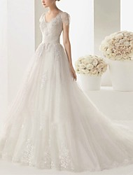 cheap -A-Line V Neck Sweep / Brush Train Lace Cap Sleeve Beach Wedding Dresses with Lace Insert / Embroidery 2020