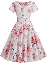 cheap -Women's Sheath Dress White Short Sleeves Floral Round Neck S M L XL XXL