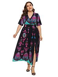 cheap -Women's Maxi Plus Size Black Navy Blue Dress Casual Holiday Beach A Line Geometric V Neck Backless Split XL XXL
