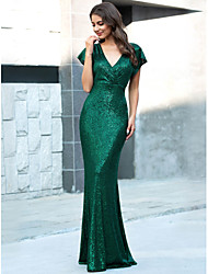 cheap -Mermaid / Trumpet V Neck Floor Length Polyester Sparkle / Sexy Formal Evening / Wedding Guest Dress with Sequin 2020