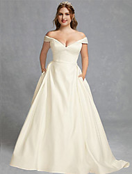cheap -A-Line Wedding Dresses Off Shoulder Floor Length Charmeuse Regular Straps Formal Plus Size Elegant with Draping 2020