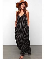 cheap -Women's Maxi Black Dress Loose Polka Dot Strap S M Loose