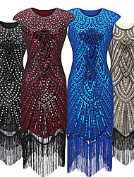 cheap -The Great Gatsby Vintage 1920s Flapper Dress Dress Party Costume Women's Sequin Costume Black / Golden / White Vintage Cosplay Party Sleeveless
