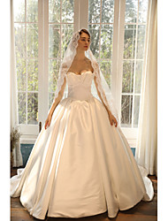 cheap -Ball Gown Strapless Court Train Satin Strapless Romantic Made-To-Measure Wedding Dresses with Ruffles 2020