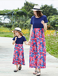 cheap -Mommy and Me Floral Dress Royal Blue