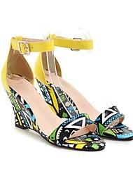 cheap -Women's Sandals Wedge Heel Open Toe PU Summer Purple / Yellow / Black