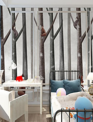 cheap -Custom self-adhesive mural wallpaper tree climbing bear picture children cartoon style suitable for bedroom children's room school  Art Deco / Cartoon / Landscape Home Decoration Modern Wall Covering
