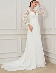 cheap -Sheath / Column V Neck Sweep / Brush Train Lace / Tulle Long Sleeve Formal Plus Size / Illusion Sleeve Wedding Dresses with Draping / Appliques 2020